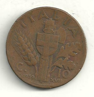 A Vintage Very Nice 1939 R 10 Centesimi Italy Copper Coin-M829