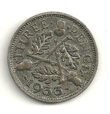 A Vintage Very Nice 1933 Great Britain 3 Pence Silver Coin-My300