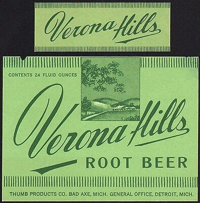 Vintage soda pop bottle label VERONA HILLS ROOT BEER 1932 Thumb Bad Axe Detroit