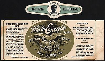 Vintage soda pop bottle label WHITE EAGLE LITHIA Alta Springs Dunfield Wis Rare