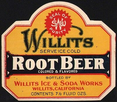 Vintage soda pop bottle label WILLITS ROOT BEER Willits Ice and Soda California