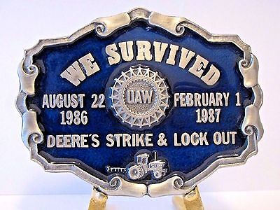 John Deere Tractor UAW Employee Union Strike Lock Out Belt Buckle 1987 LE   BLUE