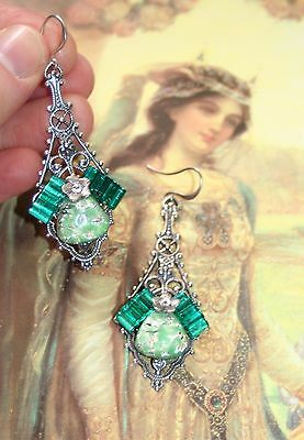 Vintage Green glass gothic etruscan arthurian camelot silver goddess earrings