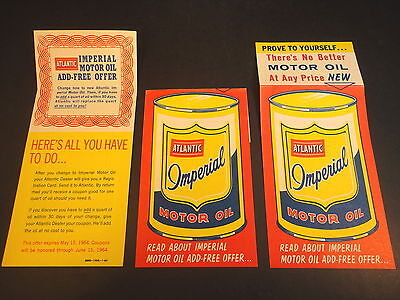 3 Vintage 1964 adv Fliers for  Atlantic Imperial Motor Oil  Can