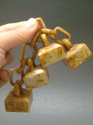 """Antique Old Chinese Celadon Nephrite Hand carved Jade Statue""""Chain seal"""""""