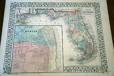 1867 Mitchell Antique Atlas Map-Florida-Handcolored-Beautiful Border