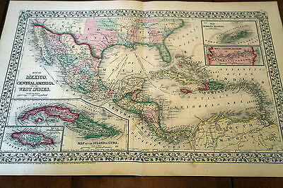 1867 Mitchell Antique Atlas Map-Mexico-Cuba-Handcolored-Beautiful Border