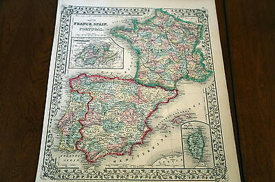 1867 Mitchell Antique Atlas Map-Spain-France-Handcolored-Beautiful Border