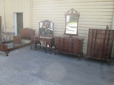 57338 Antique Mahogany Bedroom Set Bed Dresser high Chest Nightstand + Mirrors