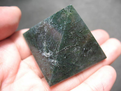 Big Green Moss Agate Crystal Gemstone Pyramid Stone Carve Carving