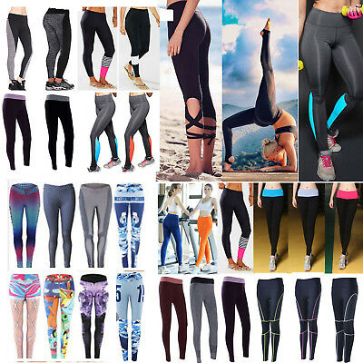 Womens Ladies Yoga Fitness Running Leggings Gym Jogger Sports Pants Trousers