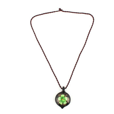 Wedding Outdoor Lady Glass Floral Pattern Pendant Decor Necklet Necklace Green