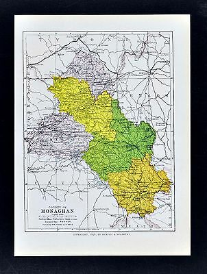 1899 Ireland Map - Monaghan County Castleblayney Glaslough Carrickmacross Clones