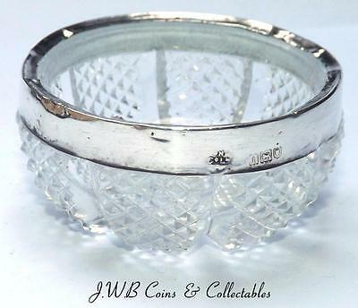 Small Antique Silver Rimmed Glass Bowl Hallmaked London 1906