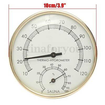 "3.9"" Stainless Steel Gold Edge Sauna Room Thermometer Hygrometer -0°C~120°C"