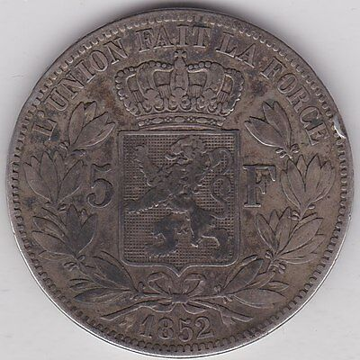 1852 Belgium Silver 5 Franc In A Well Used Fine Condition