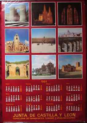 Original Poster Spain Castile and Leon Calendar 1984 Churchs Squares Castles