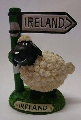 Ireland Sheep With Ireland Signpost Ornament Shamrock In Mouth 95861