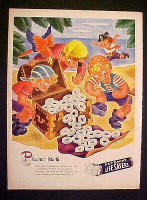 1945 Life Savers Pirates Treasure~Pleasure Island Mac Shepard Color Art Print AD