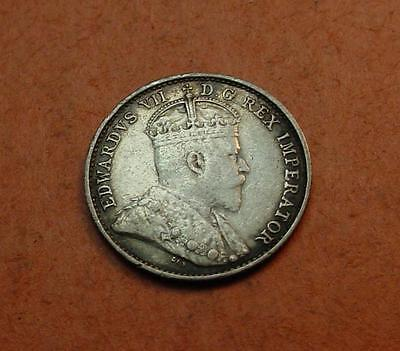 Canada 1909 5 Cent Vf/xf Pointed Leaves<>Mi4561