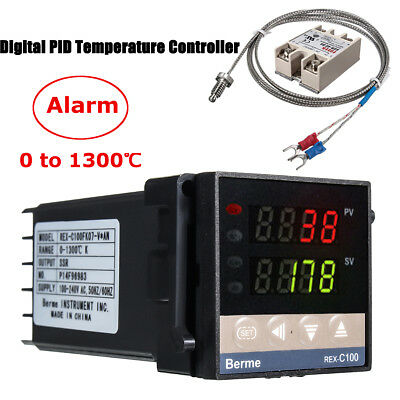0~1300℃ Alarm REX-C100 Digital LED PID Temperature Controller Kits AC 110V-240V