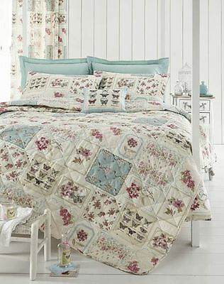 Duck Egg & Pink Floral Butterfly Patchwork Quilted Bedspread - 200cm x 200cm