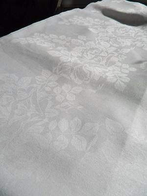"Huge antique white Irish linen damask tablecloth Rose Bouquets 104"" x 68"""
