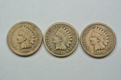THREE Indian Head One Cent Coins, 1859 1861 1862 - C2987