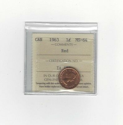 **1963**ICCS Graded Canadian Small One Cent, **MS-64**