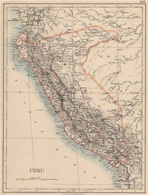 PERU. Border as before Peru-Ecuador war (1941). JOHNSTON 1895 old antique map