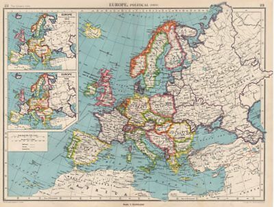 EUROPE in 1951. & inset in 1914 & 1938. Germany divided. BARTHOLOMEW 1952 map