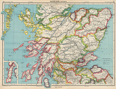 CENTRAL SCOTLAND. Showing counties. BARTHOLOMEW 1952 old vintage map chart