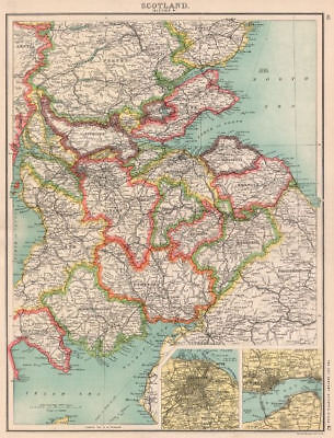 SCOTLAND SE. Borders Dumfries/Galloway Fife Lanark. Edinburgh, Dundee 1901 map