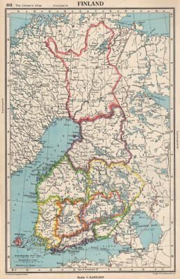 FINLAND. showing provinces. Also shows pre-1940 borders/changes 1952 old map