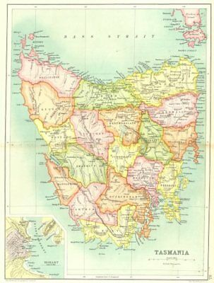 TASMANIA. State map showing counties. Inset plan of Hobart. Australia 1909