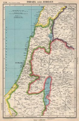 ISRAEL & JORDAN. West Bank shown as Jordanian. Gaza as Egyptian 1952 old map