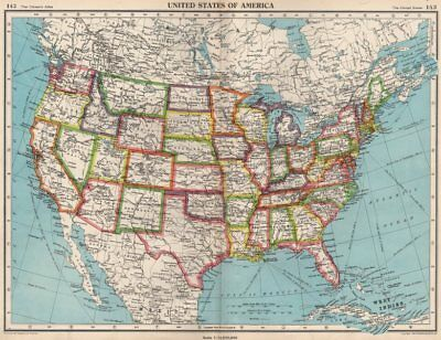 USA. United States of America. State map. BARTHOLOMEW 1952 old vintage