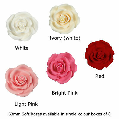 Culpitt 63mm 8 x Extra Large Edible Sugar Soft Roses For Wedding Cake Decoration