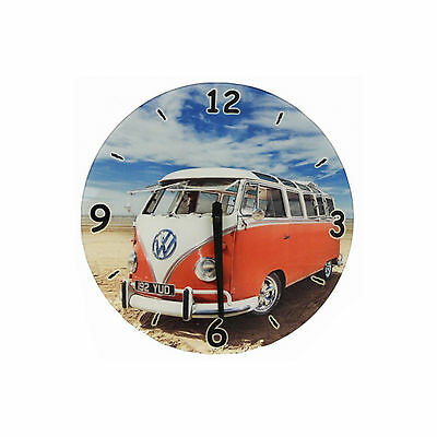 Large 30cm VW Camper Van Glass Wall Clock Beach Surf Design Battery Operated