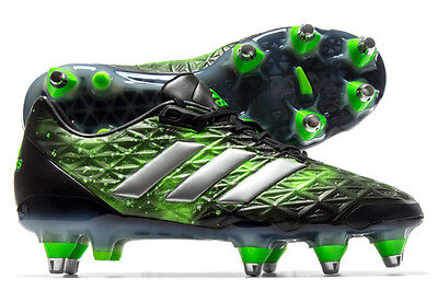 adidas adipower Kakari SG Black Silver Green Rugby Boots Sizes UK 9 11 12 13
