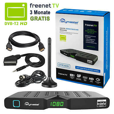 Freenet DVB-T2 FULL HD TV Terrestrisch Receiver Skymaster DTR 5000 Antenne 32dB