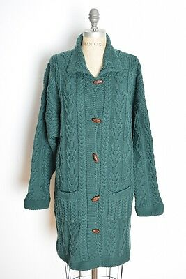 vintage 80s sweater Irish cable knit wool cardigan jumper duster forest green XL