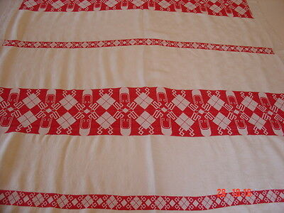 "Antique Vintage Turkey Red Damask Tablecloth ~ Interesting Geo Pattern 52"" x 68"""