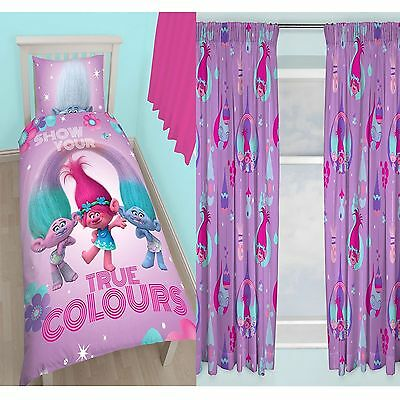 "Trolls Single Duvet Cover Set + Matching 72"" Curtains New Official Free P+P"