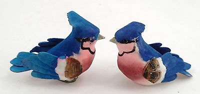 "2 Miniature 3"" Long Blue Jay BlueJay Bluebird Birds Crafts Millinery Ornament"