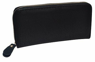 Women's Leather Black Zip Around Wallet Clutch Zipper Pocket Card Organizer New
