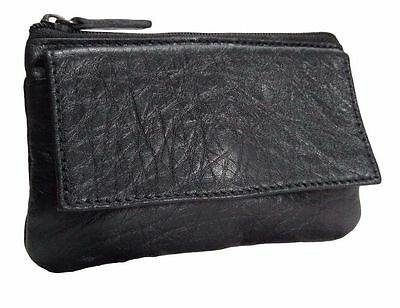 Women's Genuine Leather Black Coin Change Purse Zipper Close Wallet