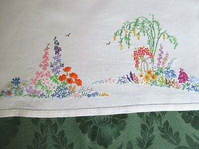 Vintage Tray Cloth-Hand Embroidered Flowers