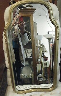 REDUCED  Antique Art Deco  Arched Top Beveled Etched Wall Hall Mirror