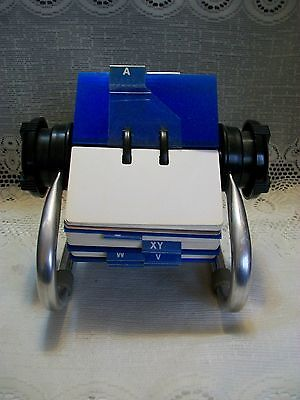 Rolodex Rotary File System 5024X with Index, Blank Cards & Blue Card Protectors